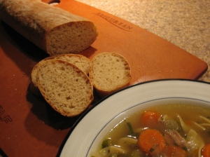 french bread and chicken soup