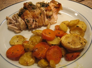 roast chicken and roasted root vegetables