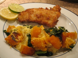 honey crusted walleye and butternut squash cheddar bread pudding