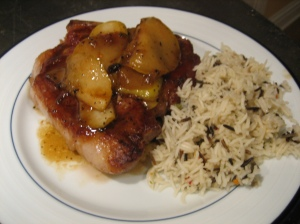 pork chops w/pear maple sauce, plated