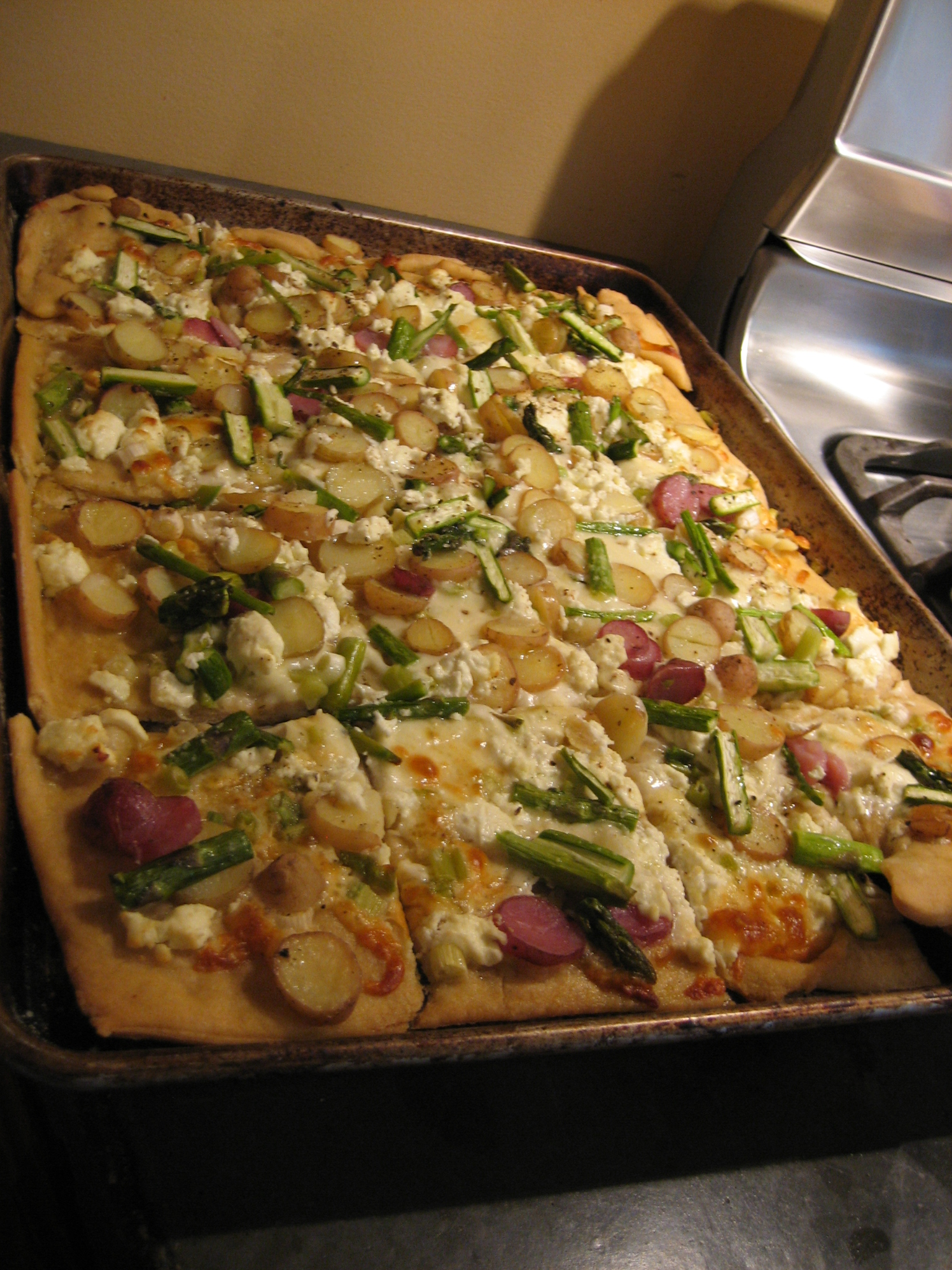 these green gems asparagus fingerling potato and goat cheese pizza
