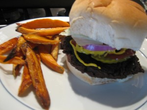 Sweet Potato Fries and a Black Bean Burger